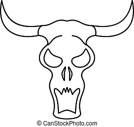 ikona, styl, bawół, szkic, czaszka