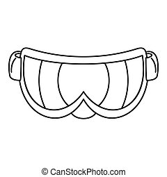 ikona, styl, narta, szkic, okulary