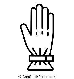 ikona, styl, narta, szkic, rękawiczka