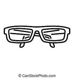 ikona, styl, oko, szkic, okulary