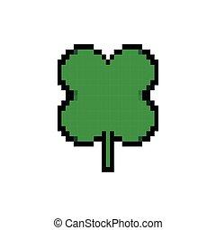 ikona, styl, pixelated, liść, kawałki, koniczyna, 8