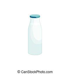 ikona, styl, rysunek, butelka, mleczny