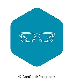 ikona, styl, szkic, okulary
