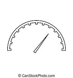 ikona, styl, szybkościomierz, szkic