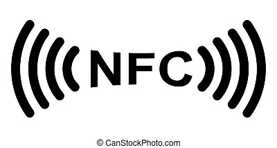 ikona, symbol, nfc, komunikacja, wektor, logo., znak,...