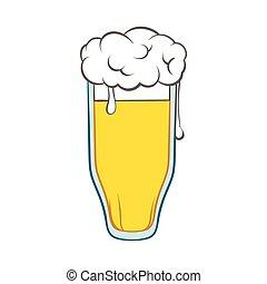 ikona, szkło, styl, piwo, rysunek