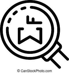 ikona, szkic, styl, powaga, szkło powiększające