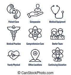 ikona, troska, lekarz, sanitarna troska, w, etc, medyczny, ...