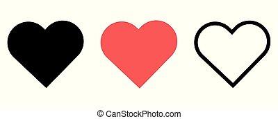 ikona, valentine, ilustracja, biały, serce, tło., odizolowany, komplet, wektor, day., podobny