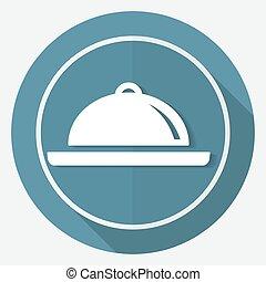 ikona, vrchní kuchař, oproti neposkvrněný, kruh, s, jeden, dlouho, stín