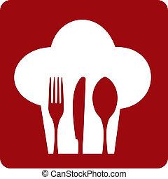 ikona, vrchní kuchař, restaurant.