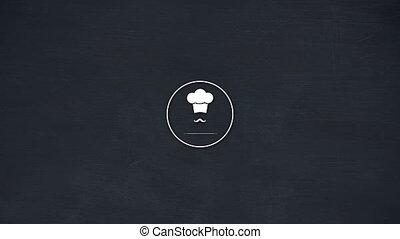 ikona, wąsy, 4k, wektor, kapelusz, mistrz kucharski