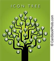 ikona, wektor, drzewo