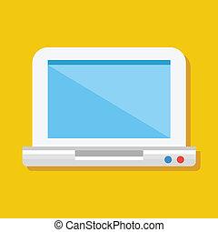 ikona, wektor, laptop