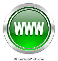 ikona, www, zielony, guzik