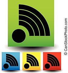 ikona, z, sygnał, modeluje, w, różny, colors.