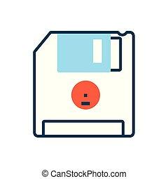 ikona, za, ohebný, osamocený, disk