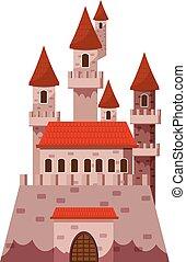 ikona, zamek, fairytale, styl, rysunek
