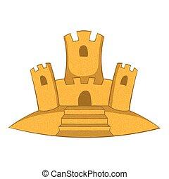 ikona, zamek, piasek, styl, rysunek