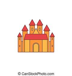 ikona, zamek, styl, rysunek, średniowieczny