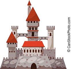 ikona, zamek, styl, rysunek