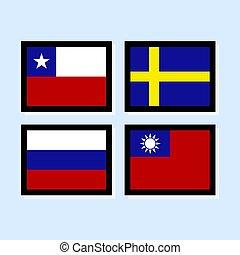 ikone, 4, vektor, abbildung, fahne, sammlung