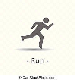 ikone, abbildung, hintergrund., rennender , vektor, sport, durchsichtig, mann