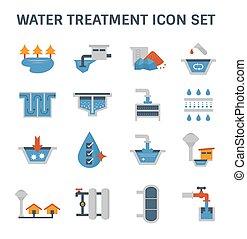 ikone, behandlung, wasser
