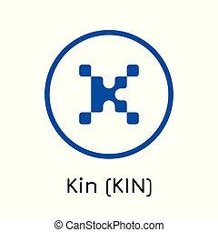 ikone, crypto, abbildung, (kin)., vektor, o, muenze, familie