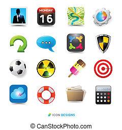 ikone, design, satz