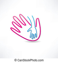 ikone, elterlich, hand