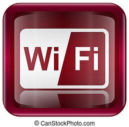 ikone, freigestellt, hintergrund, weißes, wi-fi, rotes