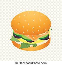 ikone, frisch, isometrisch, stil, hamburger