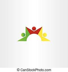 ikone, gemeinschaftsarbeit, leute, tanzen