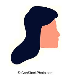 ikone, gesicht, avatar, profil, frau