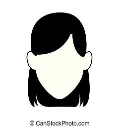 ikone, gesicht, frau, avatar