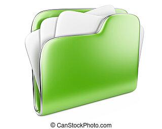ikone, grün, büroordner