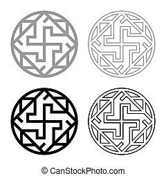 ikone, grobdarstellung, farbe, abbildung, valkiriya, slawisch, zeichen, valkyrie, grau, vektor, bild, varangian, schwarz, satz, stil, symbol, wohnung