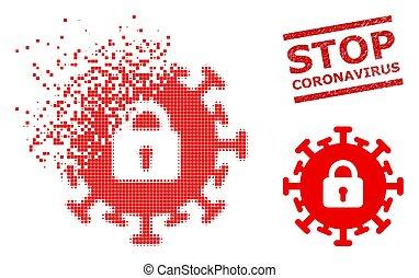 ikone, halt, coronavirus, zerrissen, punktiert, textured, ...
