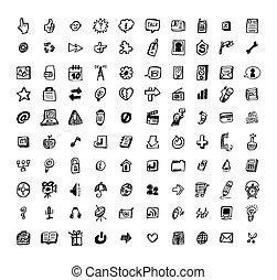 ikone, hand, pfeil, ziehen