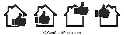 ikone, isolated., auf, haus, hand, vektor, daumen