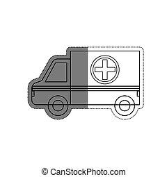 ikone, krankenwagen, fahrzeug