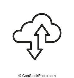 ikone, kumuluswolke, fahren, oder, linie, lagerung, kunst