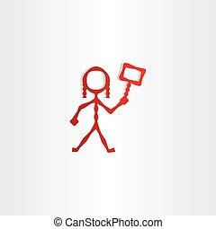 ikone, m�dchen, zeichen, rotes , hand