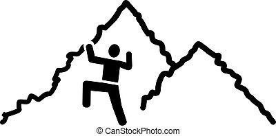 ikone, mann klettern, berge