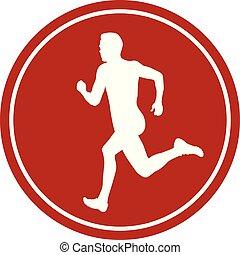 ikone, mann, sprinter, läufer