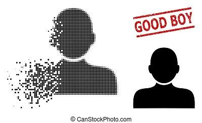 ikone, mann, zerrissen, pixelated, junge, person, siegel, ...