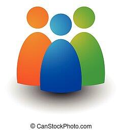 ikone, mit, drei figuren, -, geschäftsmänner, charaktere,...