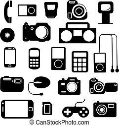 ikone, mit, elektronisch, gadgets., vektor, illustration.