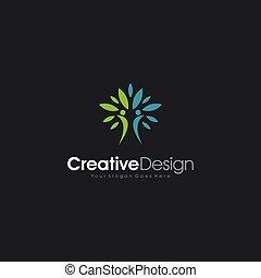 ikone, natürlich, schablone, leute, abstrakt, 2, design, logo
